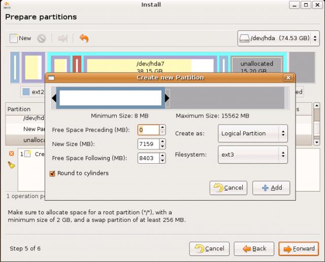 Ubuntu Install: creating new partition