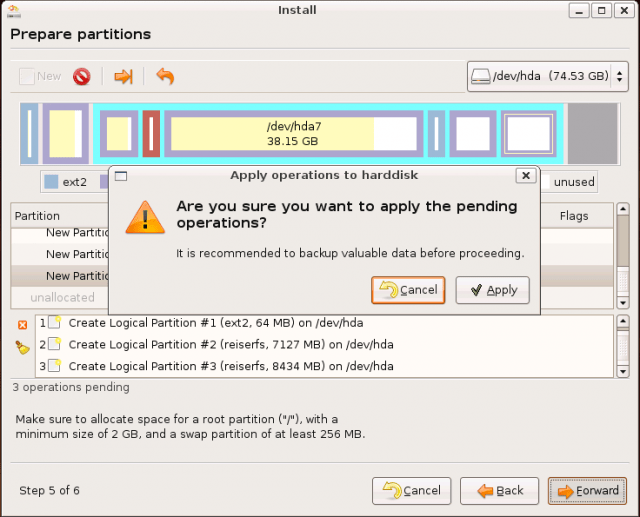 Ubuntu Install: confirm partitioning