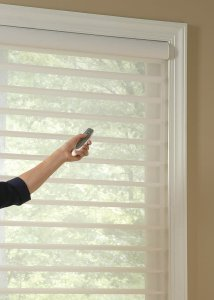 Hunter Douglas Silhouette window shadings motorized in Castle Pines, Colorado