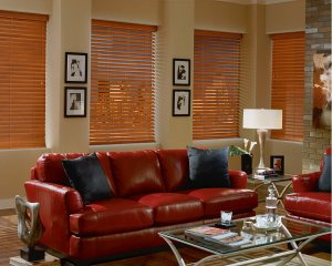 Hunter Douglas faux wood blinds in Highlands Ranch, Colorado