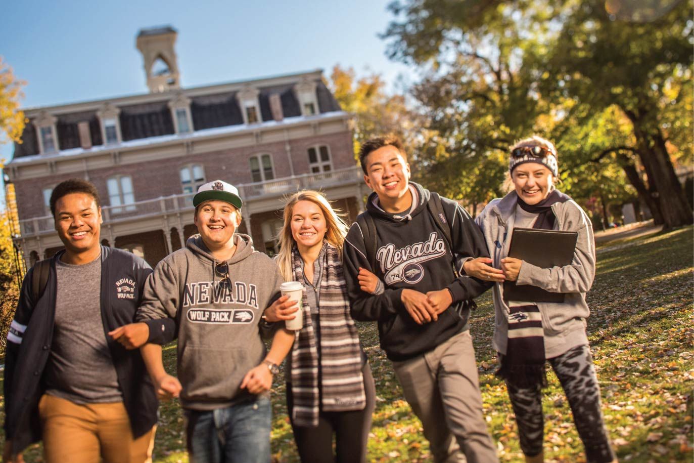 Background image of students on campus