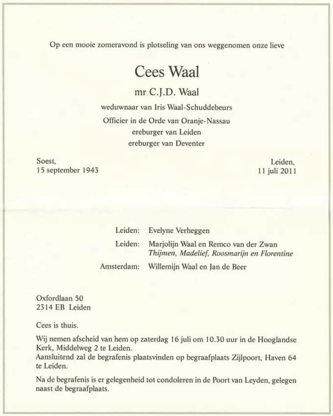 Rouwkaart Cees Waal