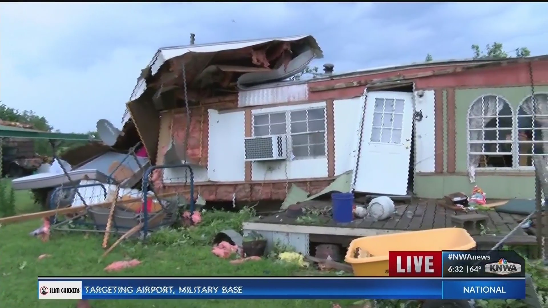 Damage to homes in Rose, Oklahoma