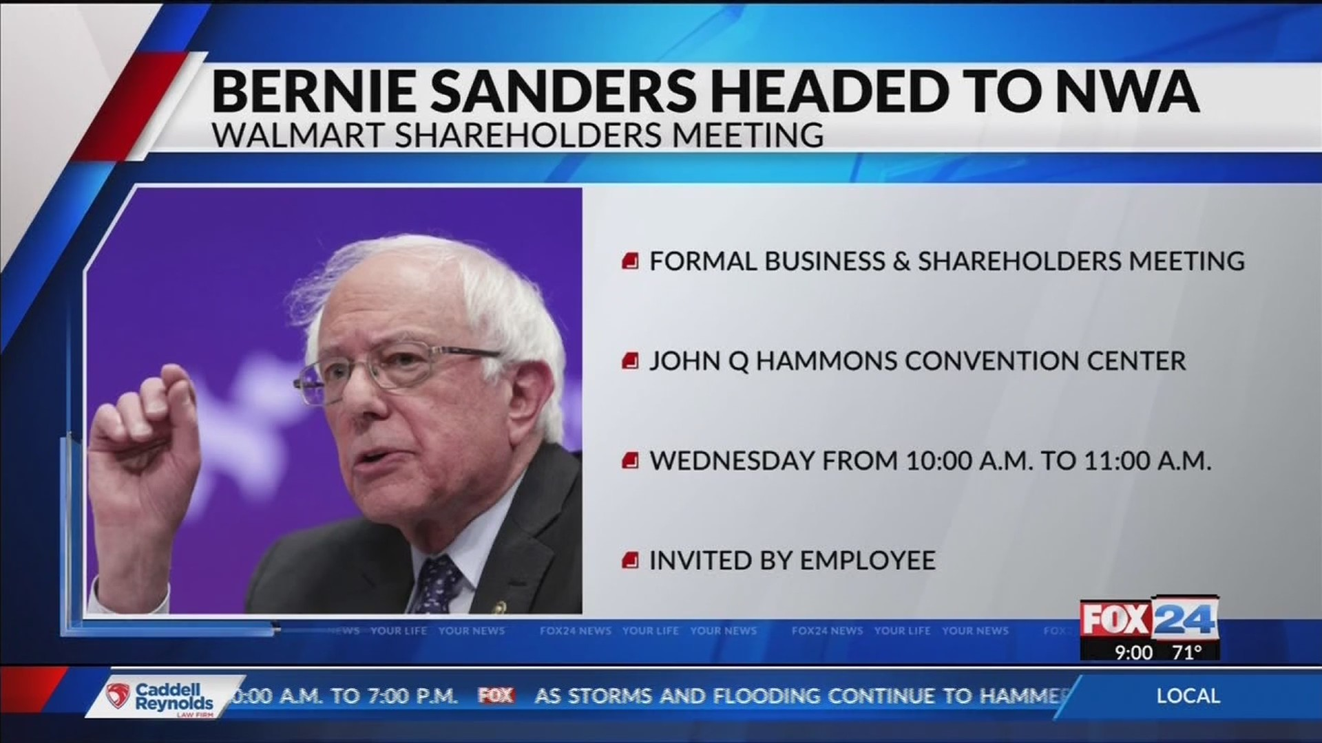 Capitol View: Bernie Sanders coming to Walmart Shareholders meeting (Fox 24)