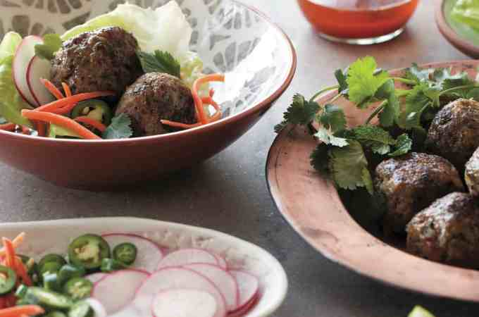 Green Herb & Peanut Pork Meatballs in Lettuce Cups
