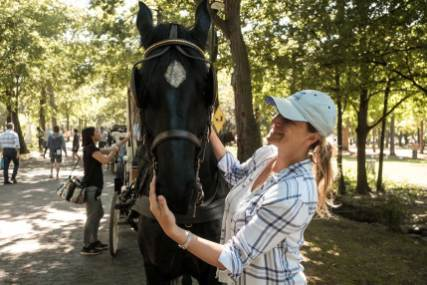 Ashley (Director) with one of the four Thoroughbred ex race horses who played the part in a lot of the scenes as Beauty