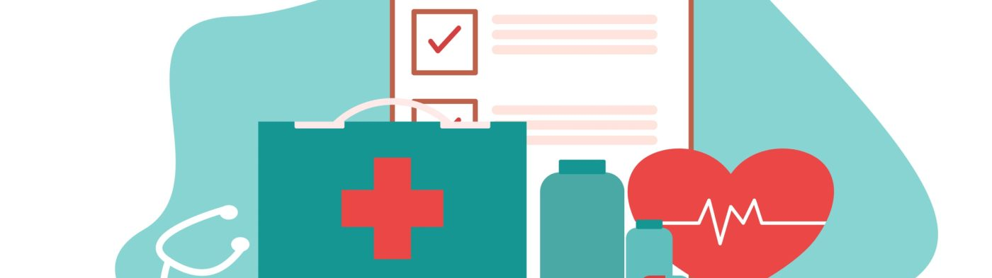 Medical equipment and medicine bottles results information medical and healthcare banner and approved checkmark