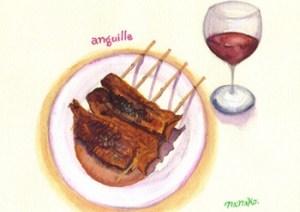 鰻の蒲焼きと赤ワイン