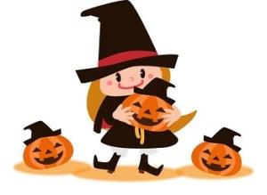 ハロウィンに魔女の帽子を被る女の子