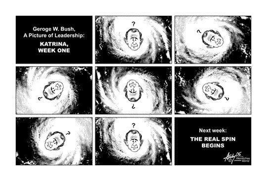 Bush and Hurricane Katrina, cartoon