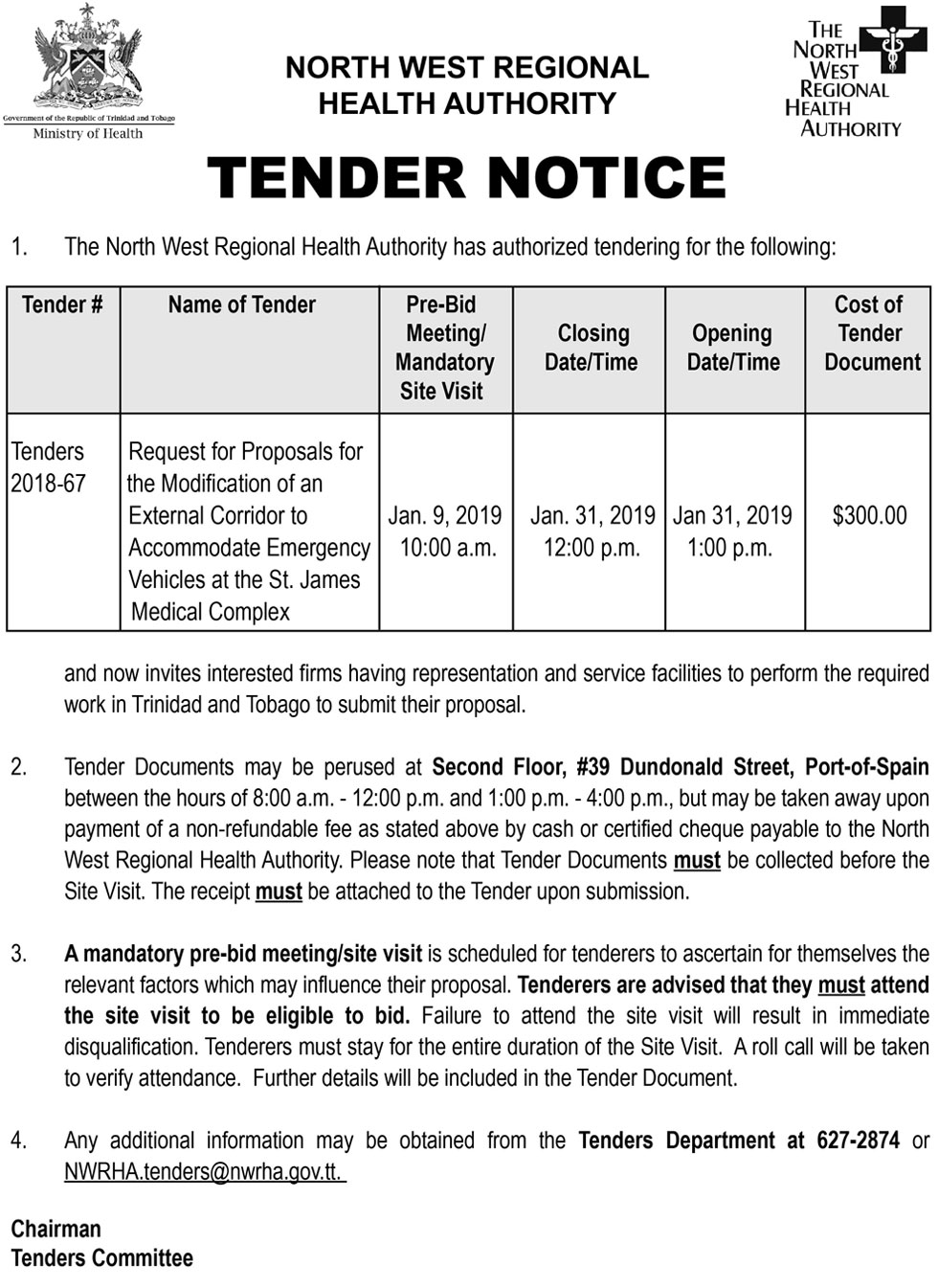 Tender Notice Request For Proposal For Modification Of