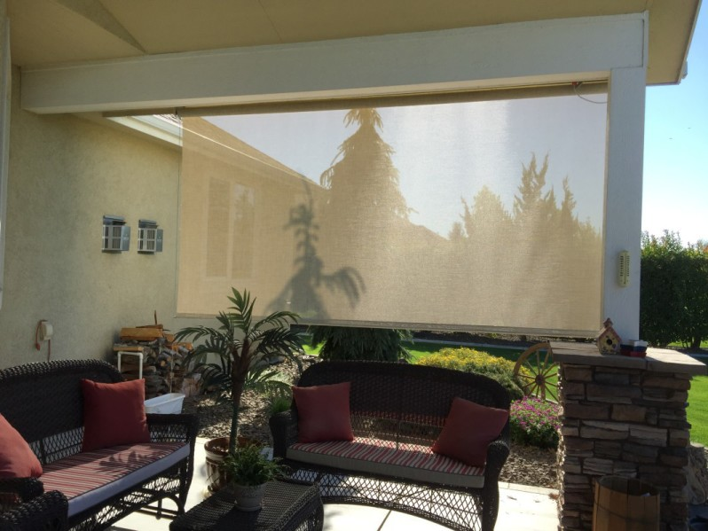 Solar shade inside patio view