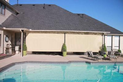 Exposed Roll Solar Shades Poolside