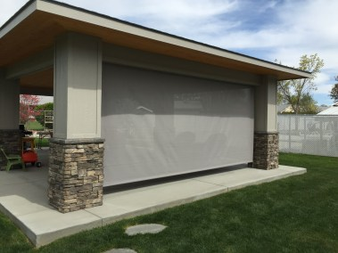 Grey 90% Manual Style Solar Shade - Front View