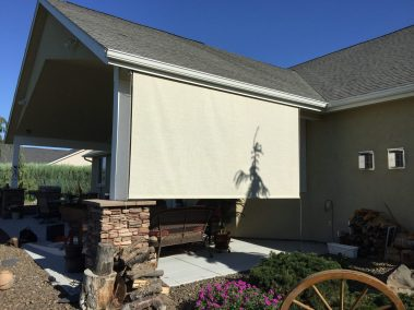 Motorized Cable Guided Stucco Shade