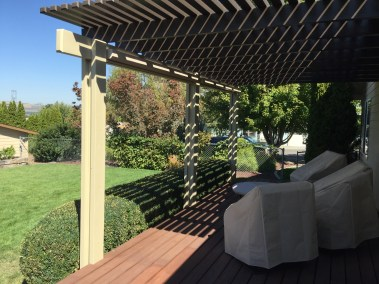 Stucco cable guided sun shades open