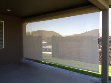 Stucco cable guided 90% blockage solar shade boxed
