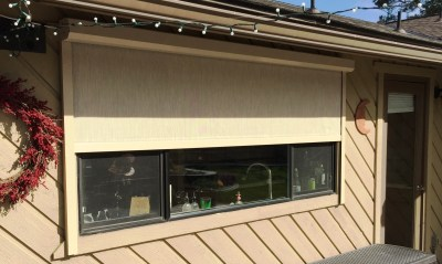 Boxed Motorized Stucco Shade Partially Opened