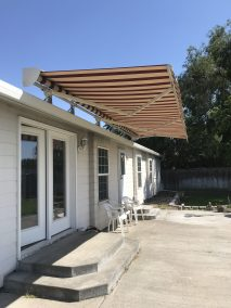 Motorized Retractable Awning Half Closed