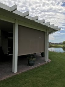 Patio Cable Guided Shades - Mocha Fabric