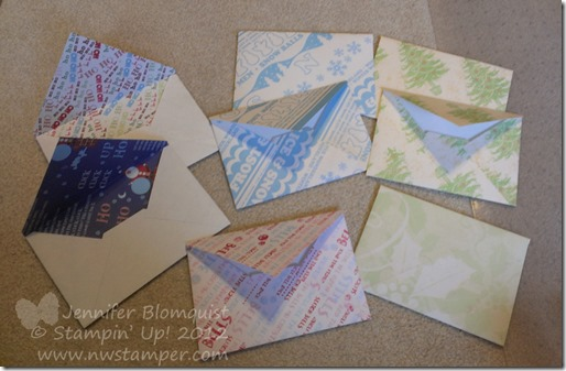finished handmade envelopes