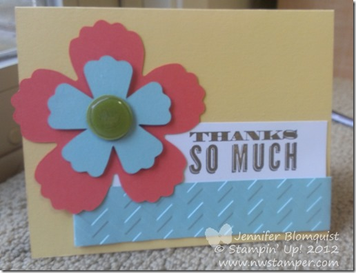 Fancy Flower crystal effects thank you card