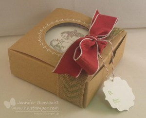 Window gift box with stamped burlap ribbon