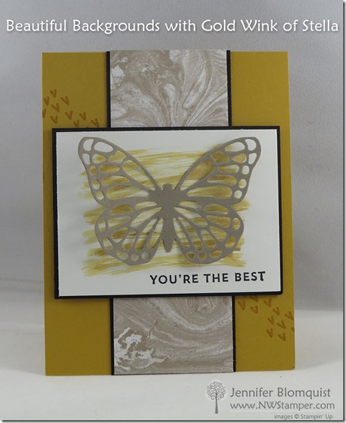 Butterfly and Wink of Stella card with Perfectly Artistic designer paper