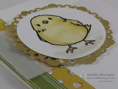 Honeycomb Happiness chick Hello card metallic doily close up