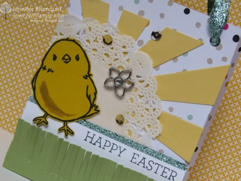 easter gift bag with sunburst thinlit close up
