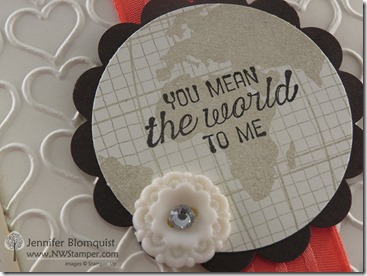 Heart embossed Going Global Love card close up