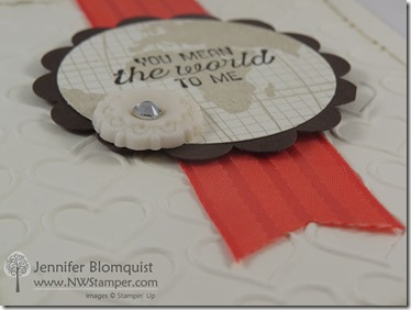 Heart embossed Going Global Love card side view