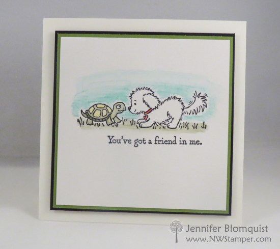 Clean and simple card using Stampin' Up Bella & Friends and watercolor pencils - Jennifer Blomquist, NWstamper.com