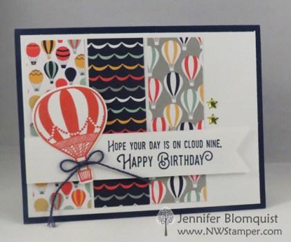 Pattern paper idea for Lift Me Up bundle birthday card - Jennifer blomquist, NWstamper.com