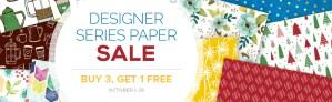 October 2017 stampin' up designer paper sale - buy 3 get 1 free