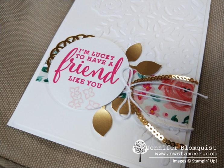 Elegant friend card with Springtime Impressions gold foil leaves