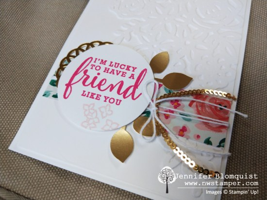 Elegant friend card with Springtime Impressions gold foil leaves