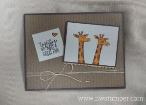 Animal Outing giraffe card - together we make a good pair