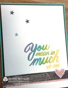 Mean So Much woodgrain and star sequins card