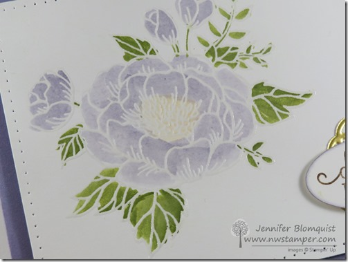 close up of heat embossing and watercoloring of Birthday Blooms