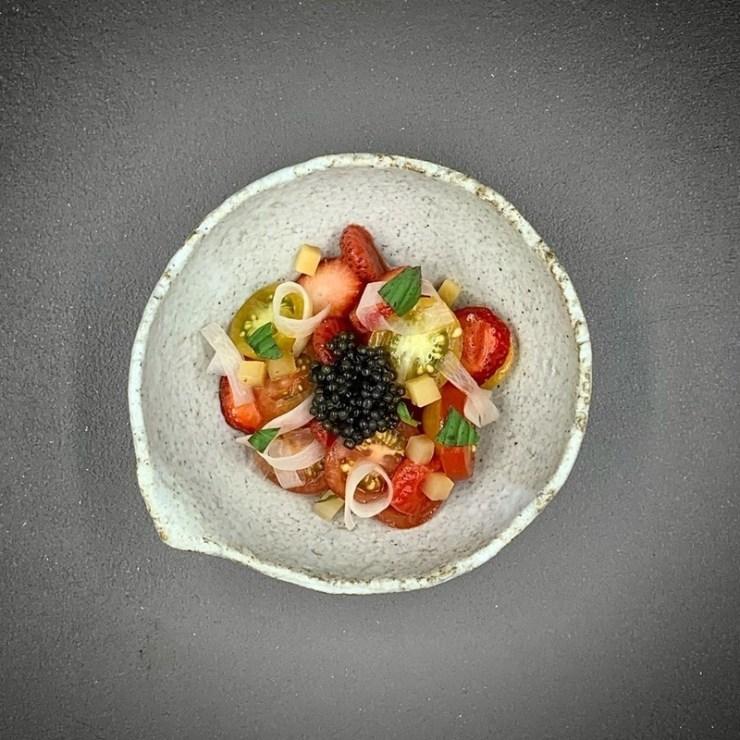 Pickled strawberries, preserved heirloom root vegetables, Oscietra caviar