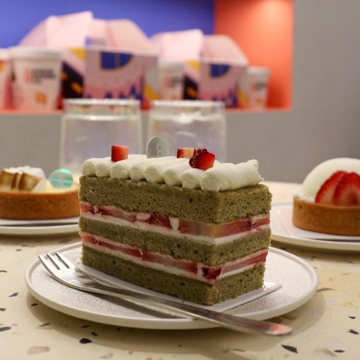 matcha strawberry cake from amuse dessert co.