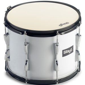 "Stagg MATD 1412 14 x 12"" marching tenor drum, white, with strap"