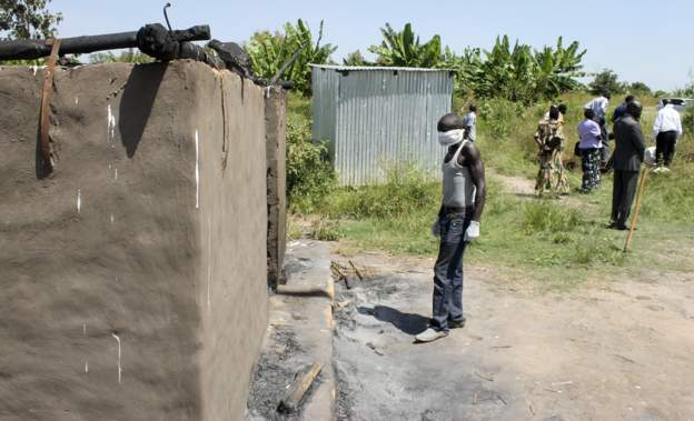 A hut were civilians tired with ropes and burned inside by government soldiers in Yei River County(Photo: supplied)