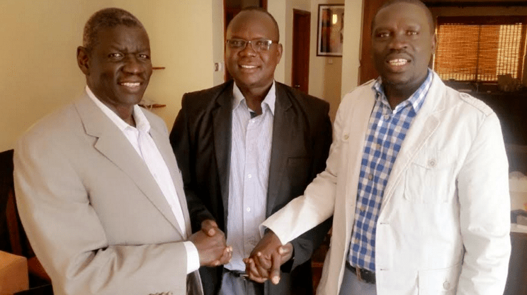 Cde. Lokai Iko Loteyo being received by deputy Chairman of SPLM/SPLA(IO), Hon. Henry Odwar and other comrades(Photo: file)