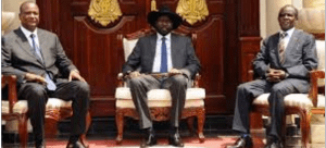 Salva Kiir and his friends, Taban Deng Gai, and James Wani Igga sits in J1 hoping to implement a new peace deal without opponents(Photo: file)