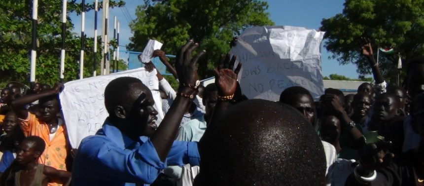 Bor youth protests the visit of the controversial First Vice President, Taban Deng Gai(Photo: file)