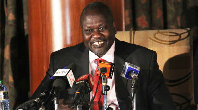 Former Vice President, Dr. Riek Machar Teny, smile during a media interview in the past in Juba, South Sudan(Photo: file)