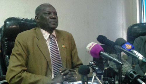 Michael Makuei Lueth speaking to journalists in his office(Photo: supplied)
