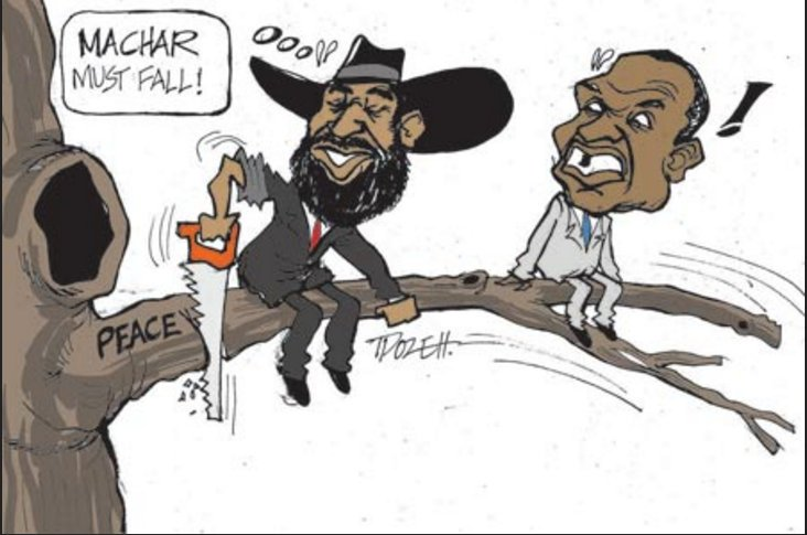 """Machar must fall, a cartoon shared by Daily Monitor on July 28th, 2016, tittle """"Salva Kiir replaces first vice president Riek Machar""""(Photo credit: Daily Monitor)"""